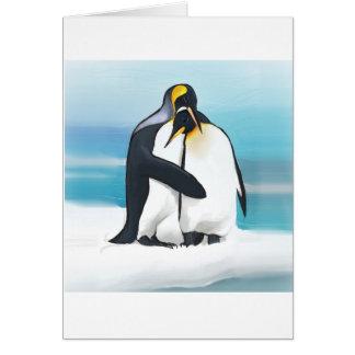 Baisers d'amour de pingouin carte de vœux