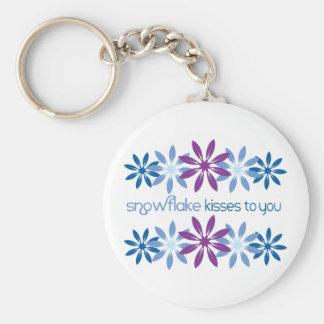 Baisers de flocon de neige à vous porte-clé rond