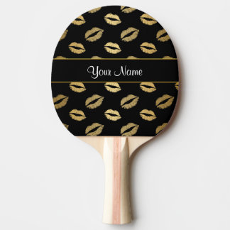 Baisers de noir et d'or raquette de ping pong