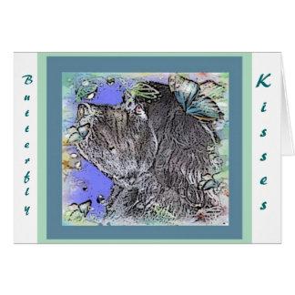 Baisers de papillon de chien de Terre-Neuve Cartes De Vœux