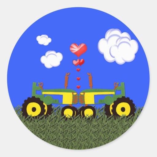 Baisers de tracteurs autocollant rond