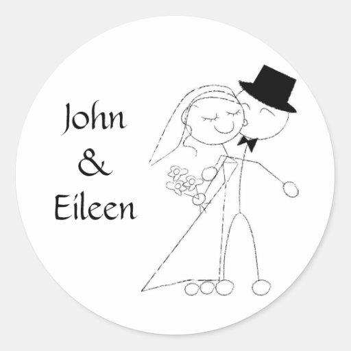 Baisers des autocollants de mariage de couples