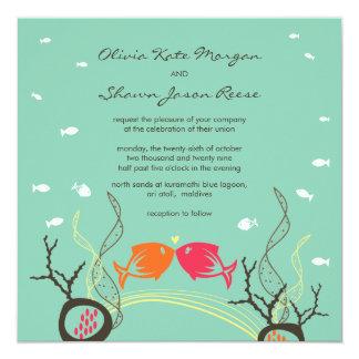 Baisers du mariage mignon lunatique de plage de carton d'invitation  13,33 cm