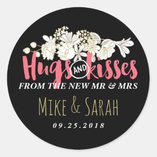 Baisers M. et Mme Floral Wedding Sticker
