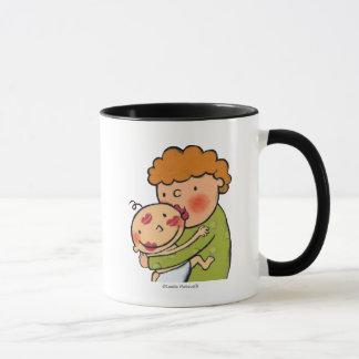Baisers roses de rouge à lèvres de grand-maman tasse