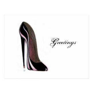 Baisse de larme et chaussure stylet noire cartes postales