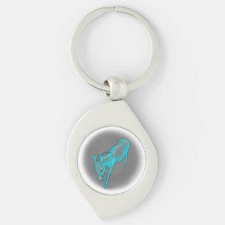 Baisse turquoise dans l'âne porte-clé swirl argenté