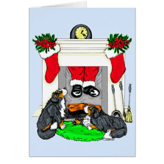 Baisses de Père Noël de chien de Bernese Mt dedans Carte De Vœux
