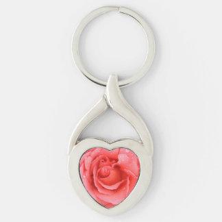 Baisses roses romantiques de l'eau rose porte-clé argenté cœur torsadé