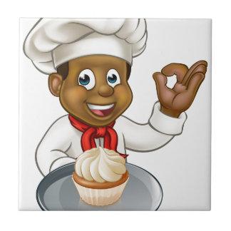 Baker de chef de pâtisserie de bande dessinée avec petit carreau carré