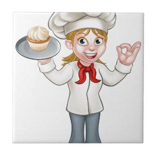 Baker de femme de bande dessinée ou chef de petit carreau carré