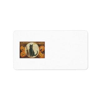 Balai de chat noir de citrouille de lanterne de étiquette d'adresse