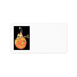Balai de citrouille de Jack-o'-lantern de sorcière Étiquette D'adresse