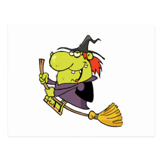 balai drôle d'équitation de sorcière de bande carte postale