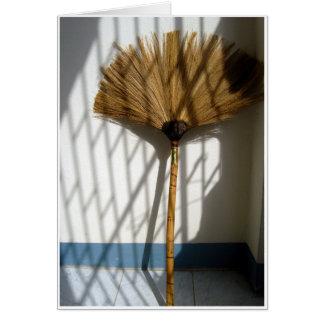 Balai en bambou carte de vœux