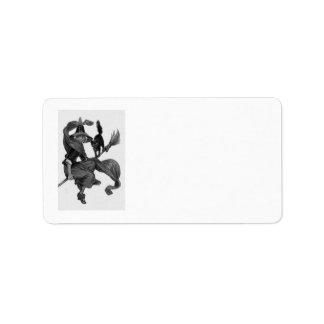 Balai monochrome de chat noir de sorcière étiquette d'adresse