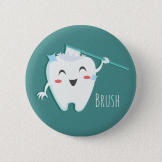 Balayez la norme de dentiste de dents, bouton rond badge
