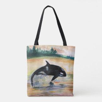 Baleine dans l'orque sauvage de saut tout plus de tote bag