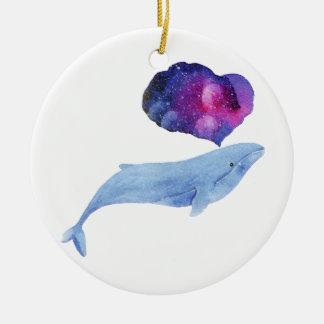 Baleine d'aquarelle ornement rond en céramique