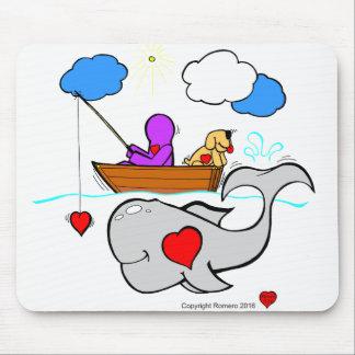 Baleine d'art de coeur tapis de souris