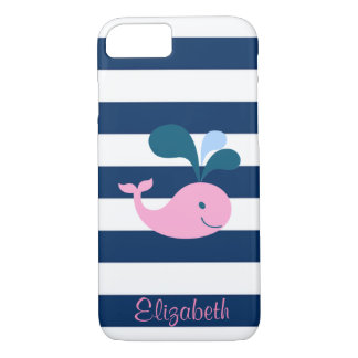 Baleine mignonne de bébé, bleu marine coque iPhone 8/7