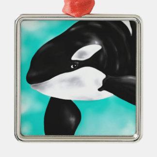 Baleine mignonne d'orque ornement carré argenté