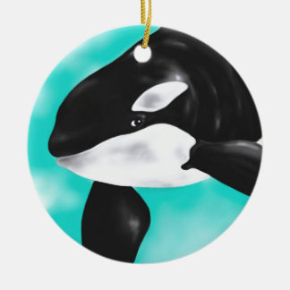 Baleine mignonne d'orque ornement rond en céramique