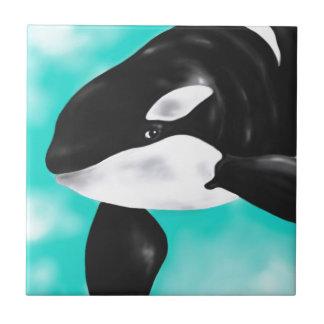 Baleine mignonne d'orque petit carreau carré
