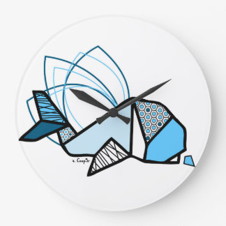 Baleine origami grande horloge ronde