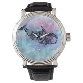 Baleine ornementale de silhouette montres cadran