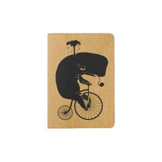 Baleine sur le vélo vintage protège-passeport