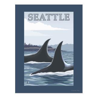 Baleines #1 - Seattle, Washington d'orque Cartes Postales