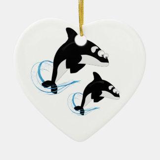 baleines ornement cœur en céramique
