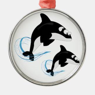 baleines ornement rond argenté