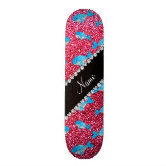 Baleines roses fuchsia nommées personnalisées de skateboard 21,6 cm