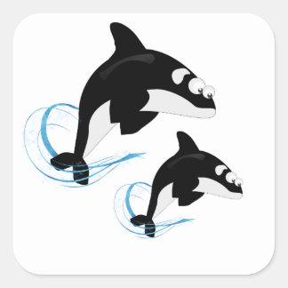baleines sticker carré