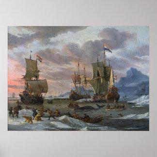 Baleiniers néerlandais outre d une côte rocheuse posters