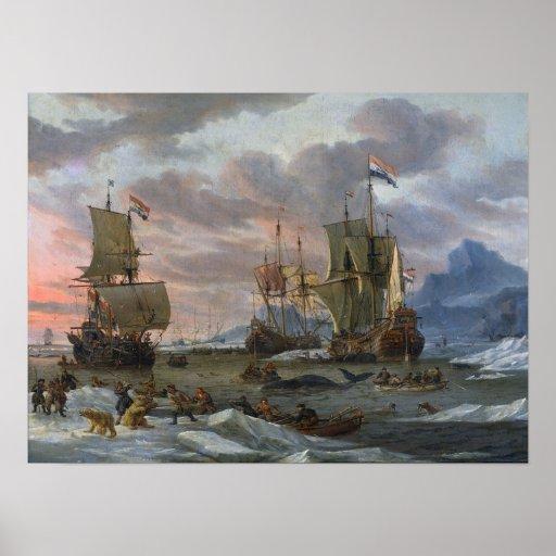 Baleiniers néerlandais outre d'une côte rocheuse posters