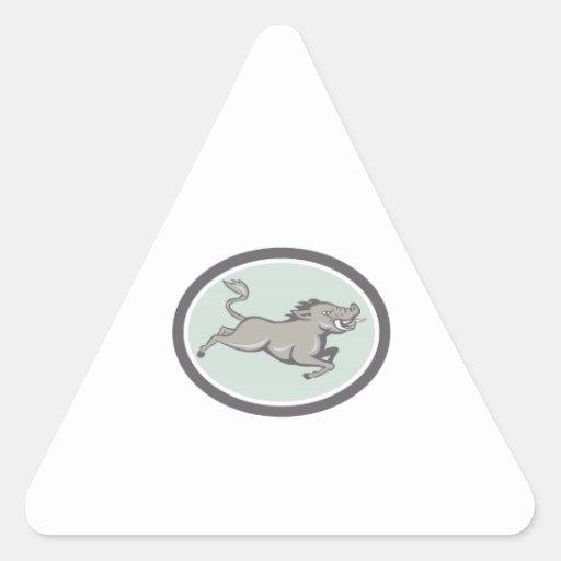 Balénoptère de sanglier sautant la bande dessinée  stickers en triangle