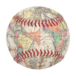 Balle De Baseball La carte d'atlas du monde avec des courants et des