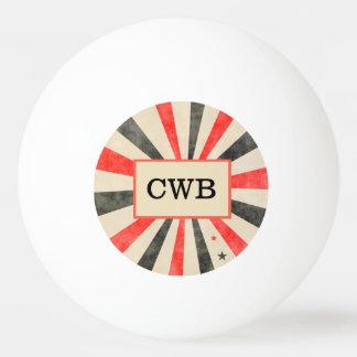 Balle De Ping Pong Boule noire et rouge de casino de monogramme de