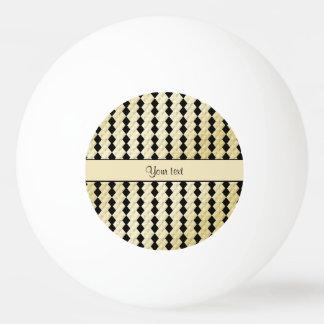 Balle De Ping Pong Diamants symétriques élégants d'or de noir et de