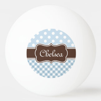 Balle De Ping Pong Le guingan bleu de point de polka modèle le nom de