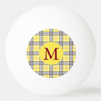 Balle De Ping Pong Monogramme rouge, gris et jaune de plaid de tartan