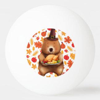 Balle De Ping Pong ours de pilgram avec l'arrière - plan de fête