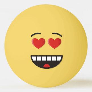 Balle De Ping Pong Visage de sourire avec les yeux en forme de coeur