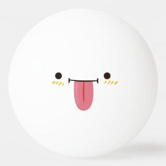 Balle De Ping Pong Visage souriant drôle. Émoticône d'Emoji. Smiley