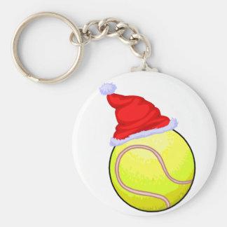 Balle de tennis (chapeau de Père Noël) Porte-clé Rond