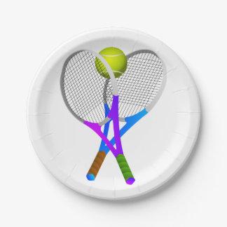 Balle de tennis et raquettes assiettes en papier