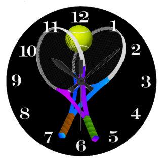 Balle de tennis et raquettes grande horloge ronde